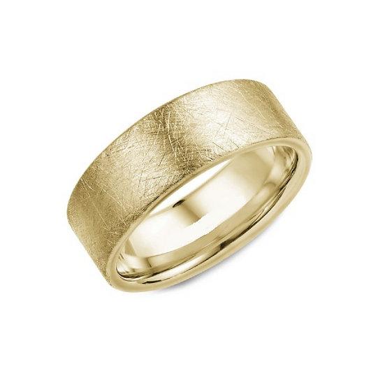 Yellow Gold Stone Finish Wedding Band
