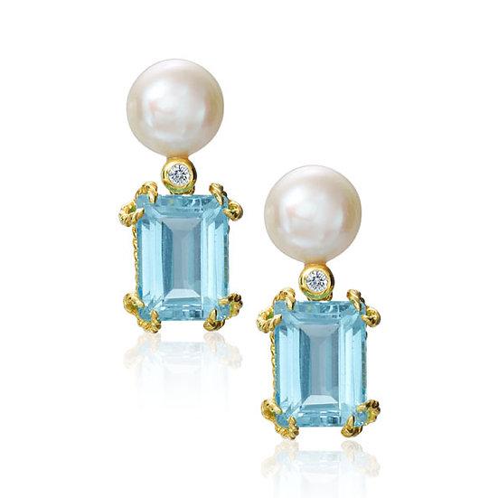 Pearl Aquamarine Earrings