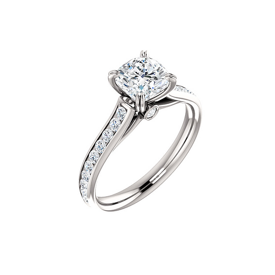 Cushion Cut Diamond Solitaire Engagement Ring Setting