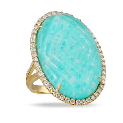 Amazonite Diamond Ring