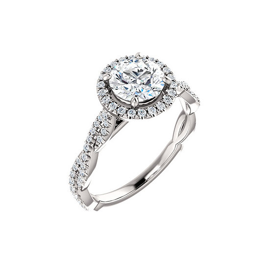 Halo Twist Band Engagement Ring
