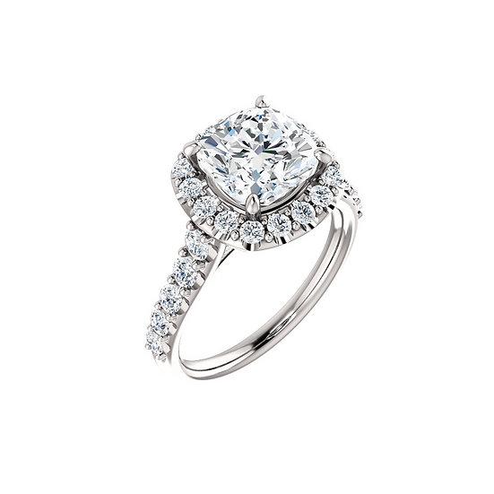 Cushion Halo Engagement Ring Setting