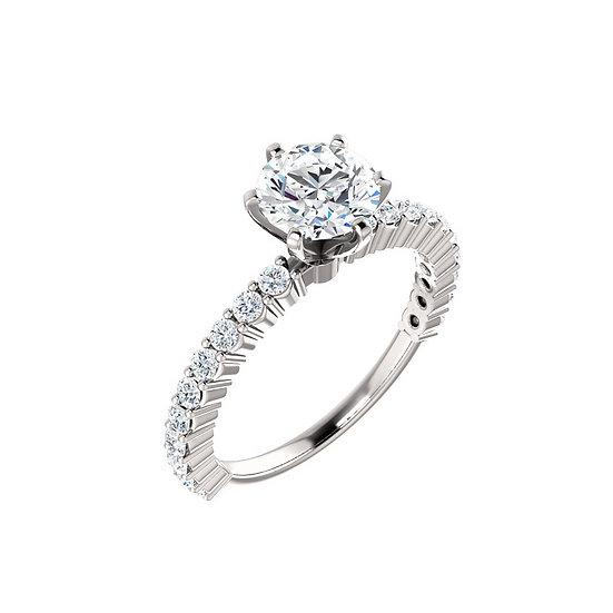 Six Prong Diamond Engagement Ring Setting