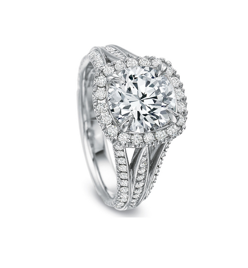Tri Band Diamond Halo Engagement Ring Setting