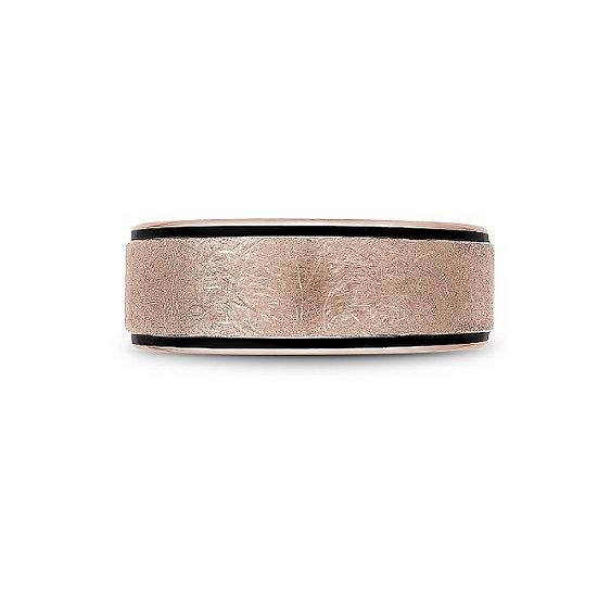 Men's 8.5mm rose gold black carbon band