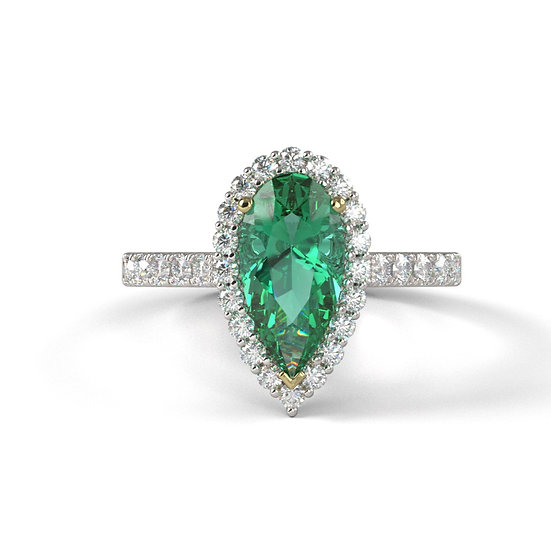 Emerald Pear Shape Diamond Ring