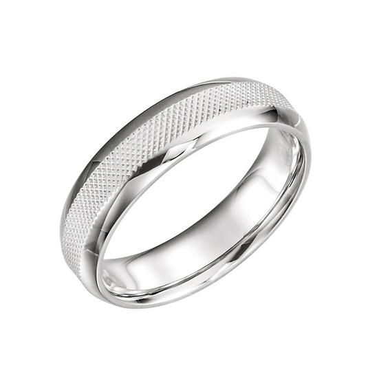 Mens 6mm white gold wedding ring