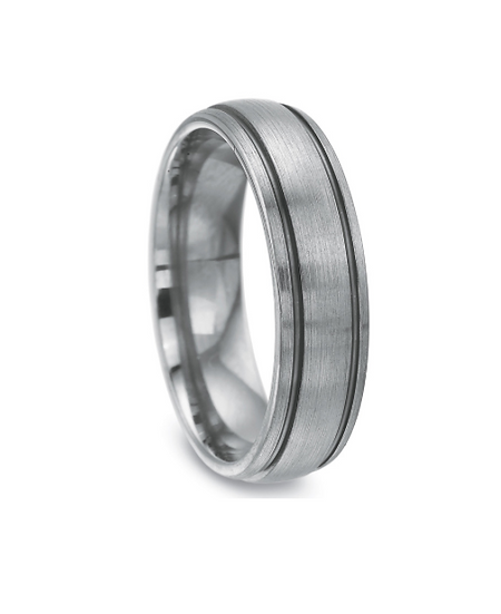 Men's 6MM Wedding Band with Black Rhodium Grooves