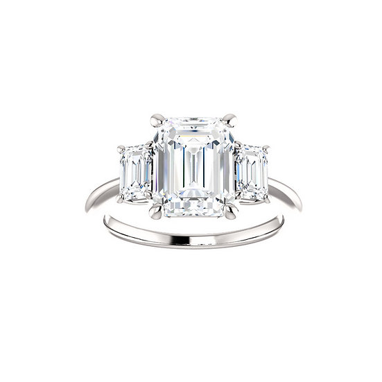 Emerald Three Stone Engagement Ring Setting