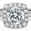 Thumbnail: Cushion Halo Round Diamond Ring Setting