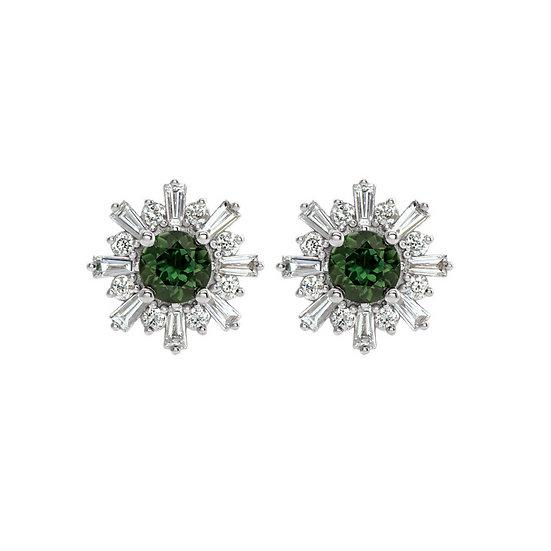 Green Tourmaline Diamond Earrings