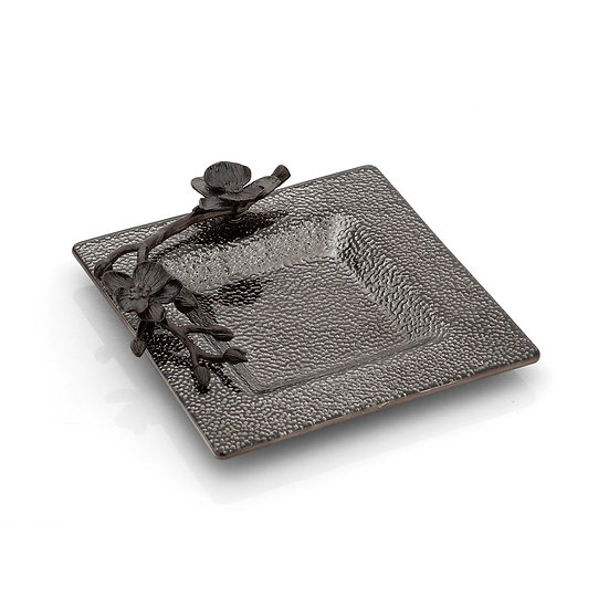 Black Orchid Glass Snack Dish