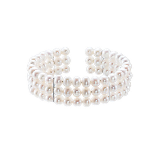 Sterling Pearl 3 Row Bangle Bracelet