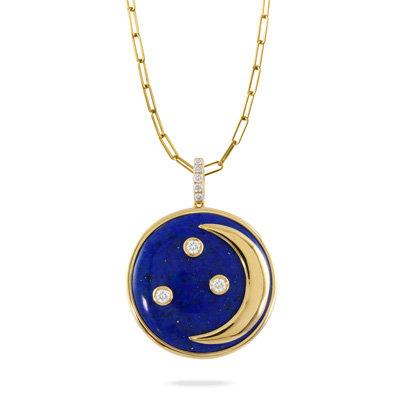 Celestia Lapis Diamond Necklace