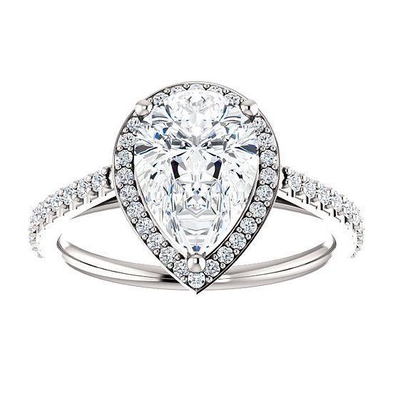 Pear Shape Halo Engagement Ring Setting