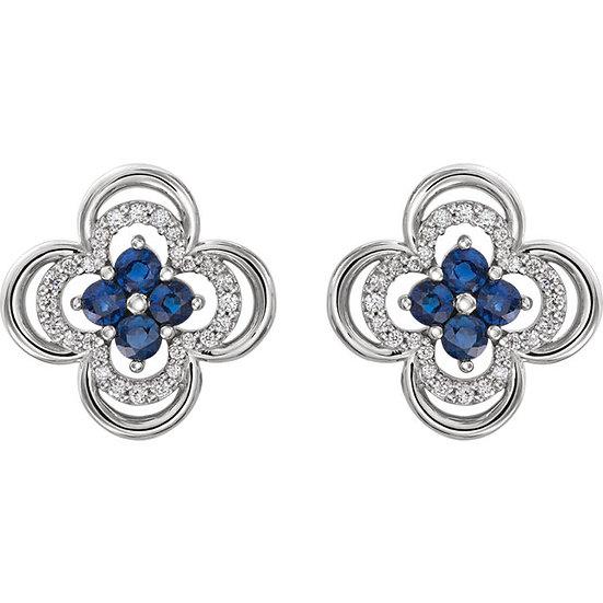 Blue Sapphire Clover Earrings