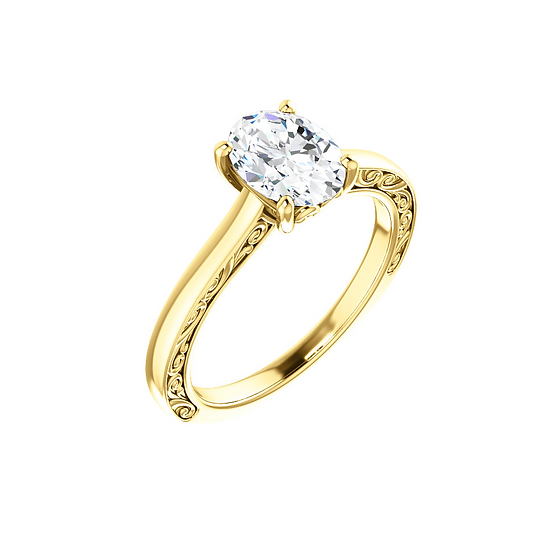 Oval solitaire vintage ring setting