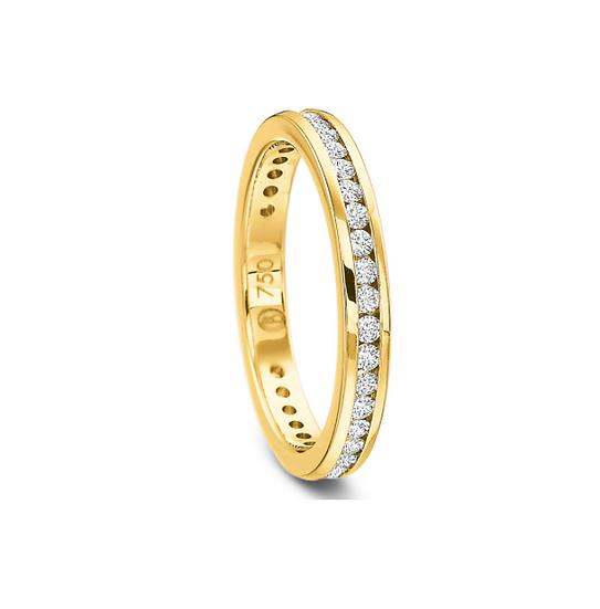 Yellow gold channel diamond band