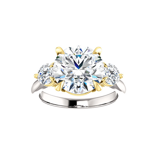 Round Three Stone Engagement Ring Setting