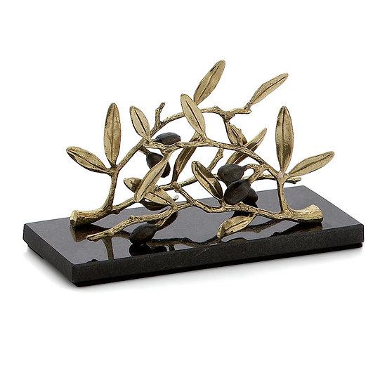 Olive Branch Gold Vertical Napkin Holder