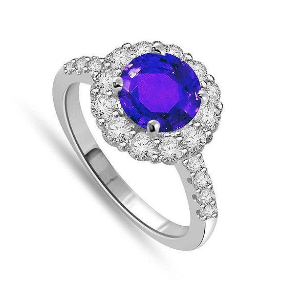 Halo Sea Sapphire Ring
