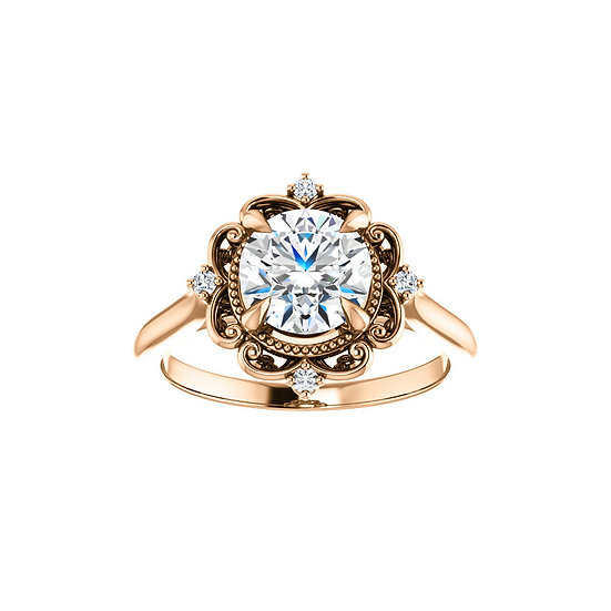 Art Deco Halo Engagement Ring Setting
