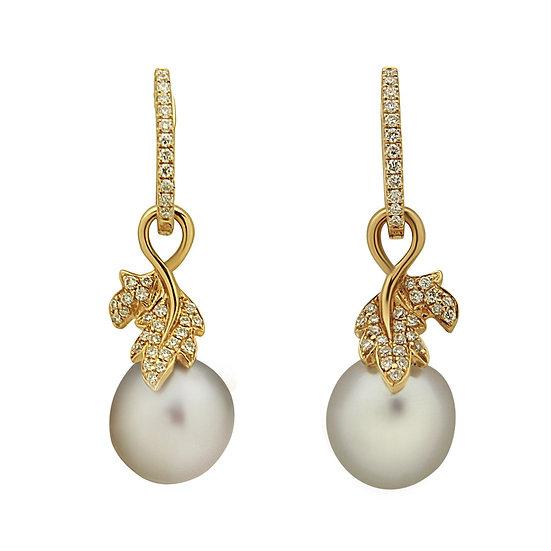 Diamond Leaf Pearl Earrings