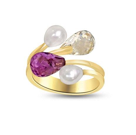 Amethyst Briolette Stackable Ring