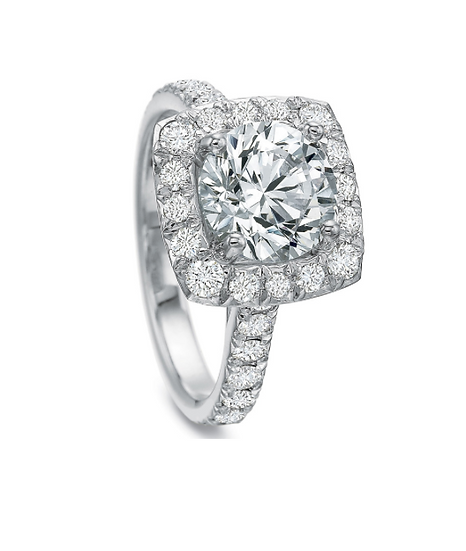 Cushion Halo Round Diamond Ring Setting