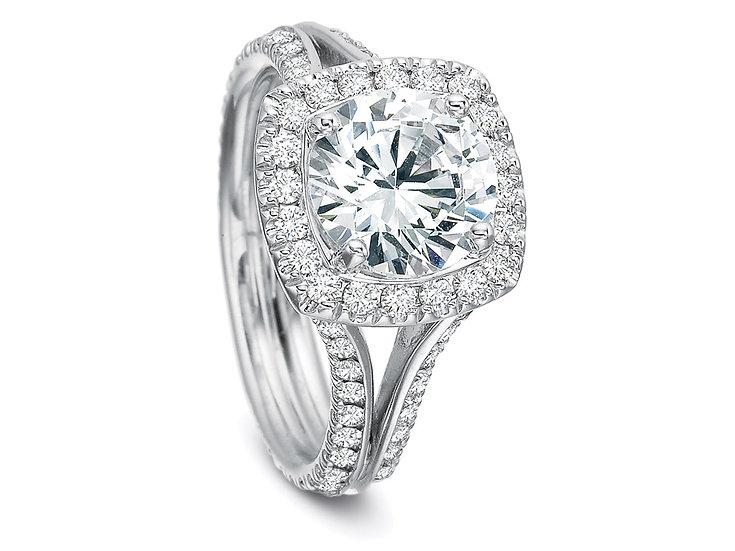 Diamond Halo Engagement Ring Split Band