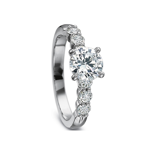 Diamond Solitaire Ring Setting Stackable Band