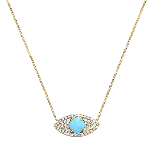 Turquoise Diamond Evil Eye Necklace