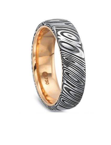 Men's 6.5mm wood grain gold wedding band