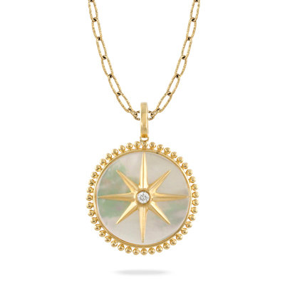 Mother of pearl diamond pendant