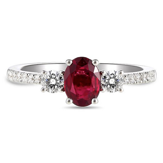 Ruby three stone diamond ring