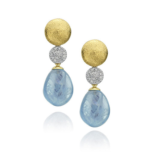 Aquamarine drop diamond earrings