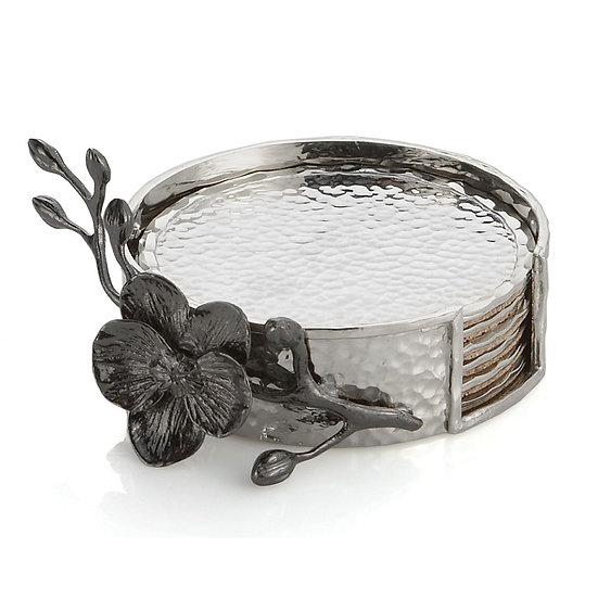 Black Orchid Coaster Set