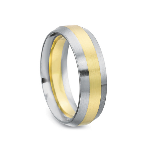 Men's diffusion bonded two tone gold band