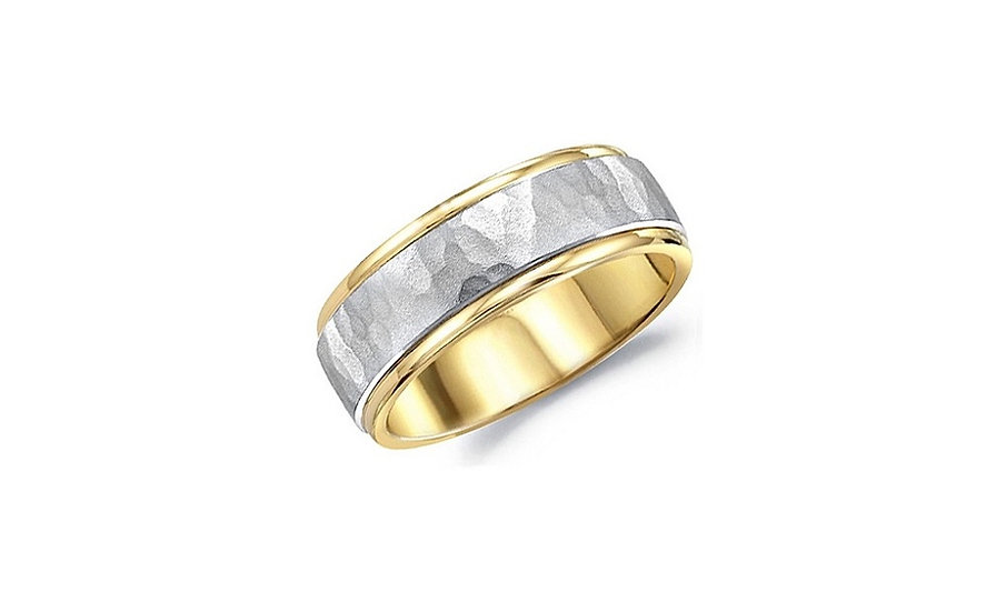Hammer Finish Mens Wedding Band