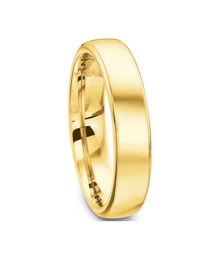 Men's 5mm yellow gold wedding band precision fit