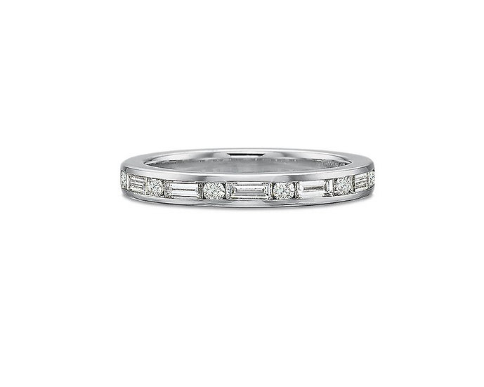 Channel Baguette Round Diamond Band