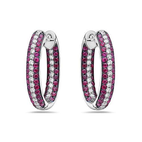 Ruby Diamond Hoop Earrings