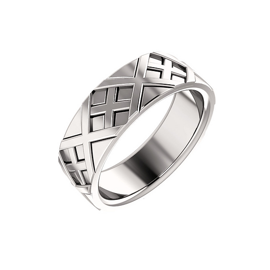 Mens X patterned wedding ring