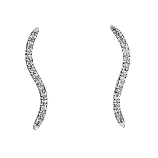 Wave Diamond Ear Climbers