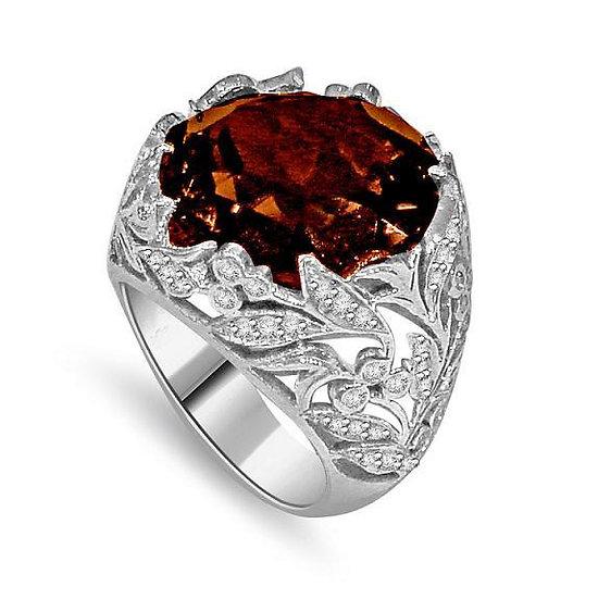 Chocolate Topaz Diamond Ring