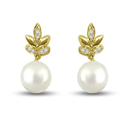 Pearl Leaf Earrings. FR976