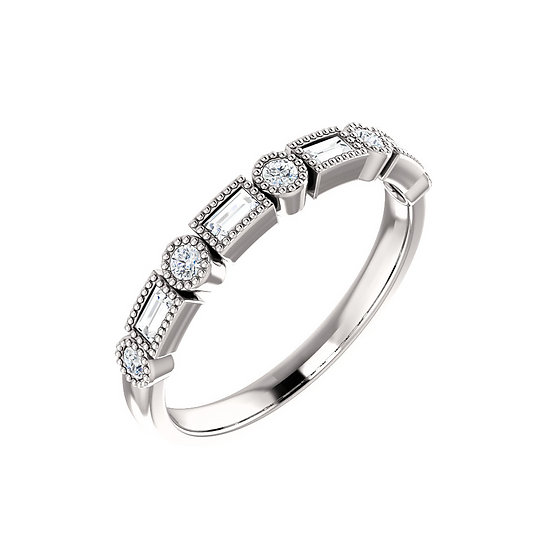 Baguette Round Diamond Band