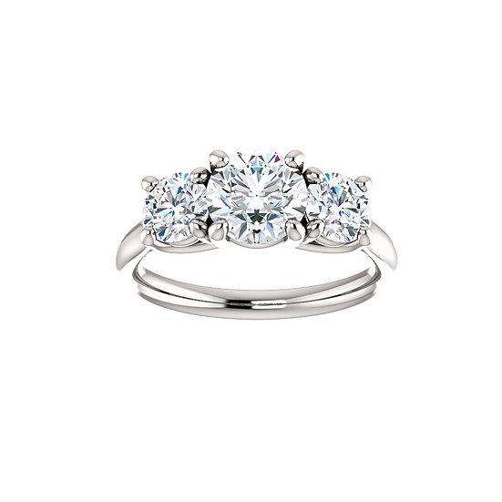 Round Diamond Three Stone Engagement Ring Setting