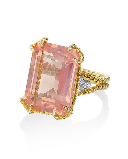Rose Quartz Diamond Ring