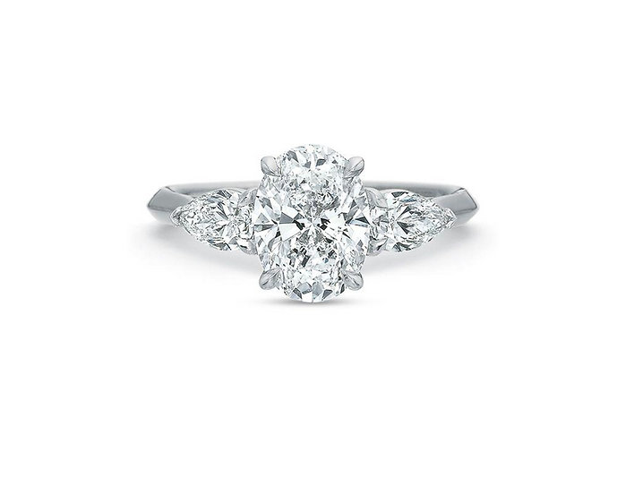 Desiree Three Stone Pear Engagement Ring